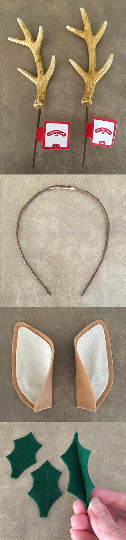 DIY reindeer antler headband steps