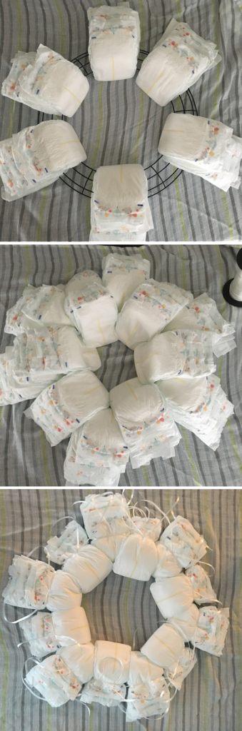 diaper wreath last step