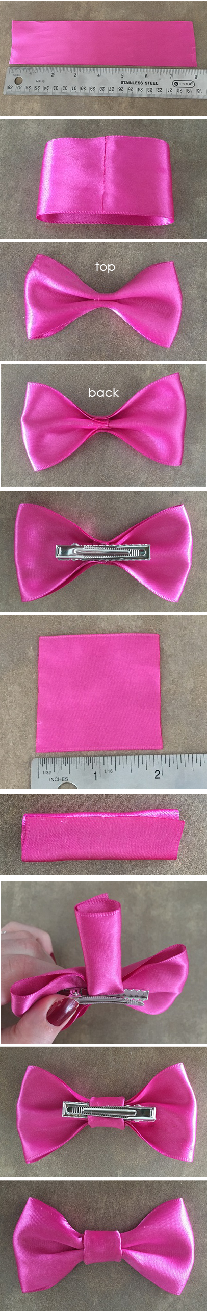 no sew bow hair clip step by step