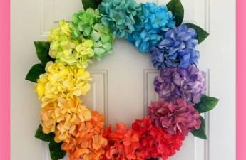 DIY Rainbow Hydrangea Wreath for LESS