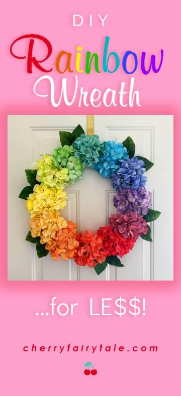 DIY Rainbow Hydrangea Wreath for LESS
